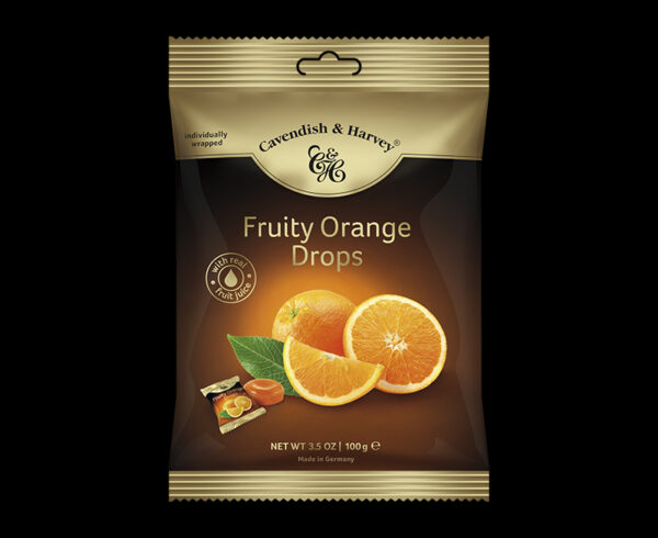 Fruity Orange Drops, individually wrapped 100g