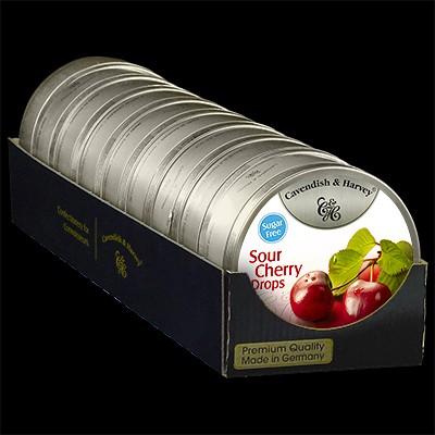 Sour Cherry Drops Sugar Free 9x175g
