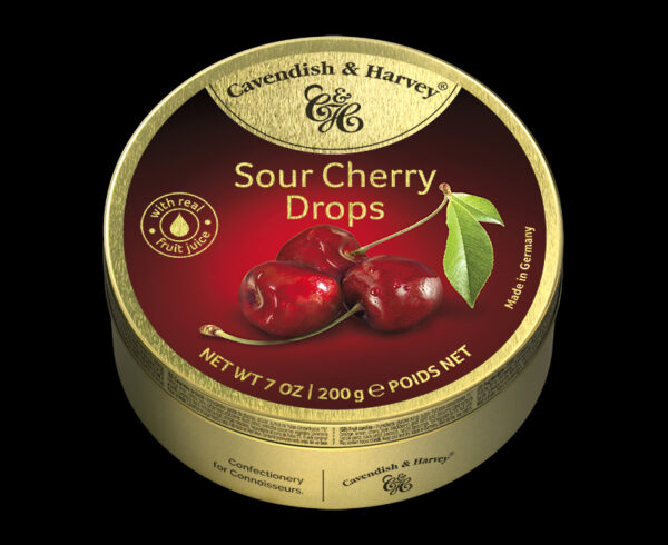 Sour Cherry Drops, 200g, 600x490