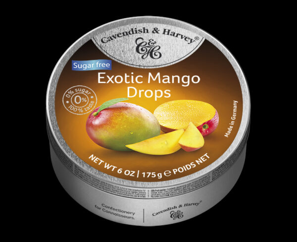 Sugar Free Exotic Mango Drops, 175g, 600x490