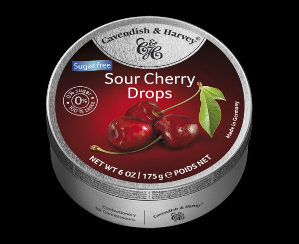 Sugar Free Sour Cherry Drops, 175g