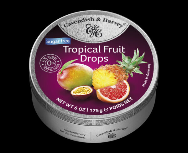 Sugar Free Tropical Fruit Drops, 175g, 600x490