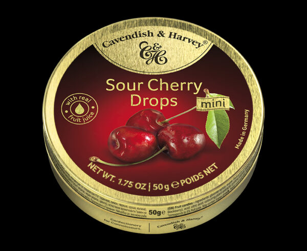 Sour Cherry Drops, 50g, 600x490