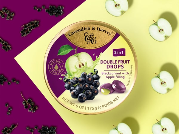 Was ist das Besondere an Double Fruit Drops - Blackcurrant with Apple Filling?