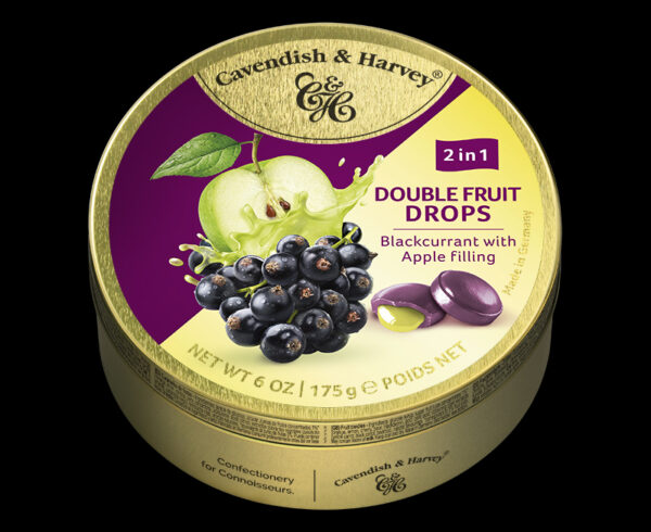 Double Fruit Drops – Blackcurrant with Apple Filling, 175g, 600x490