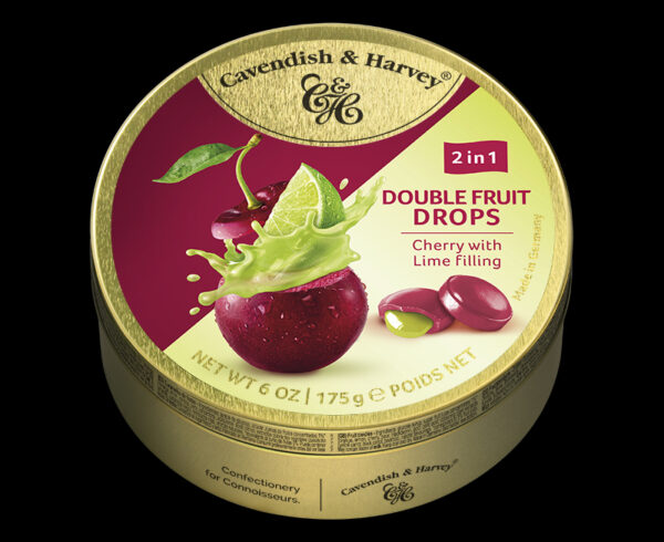 Double Fruit Drops – Cherry with Lime Filling, 175g, 600x490